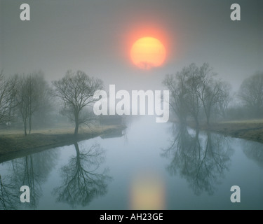 DE - BAVARIA: Sunset over River Loisach entering Lake Kochel - Stock Photo