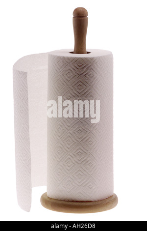 roll of paper towels on a dispenser silhouetted on white background - Stock Photo