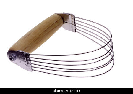 Wire whisk pastry blender silhouetted on white background - Stock Photo