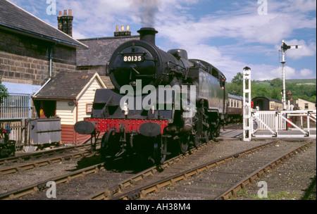 Steam locomotive Number 80135 at Grosmont steam train Station, North York Moors Railway, North Yorkshire, England, - Stock Photo