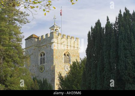 Church tower Worplesdon - Stock Photo