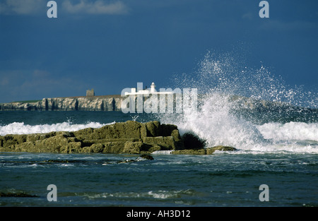 Rough Sea on Seahouses beach looking to the  Farne islands in Northumberland 'Great Britain' - Stock Photo