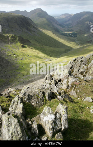 View from Windy Gap, Great Gable, Lake District, England westwards towards Kirk Fell, Pillar, Ennerdale and High - Stock Photo
