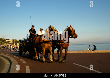 Horse and carriage ride on the waterfront Nice France - Stock Photo