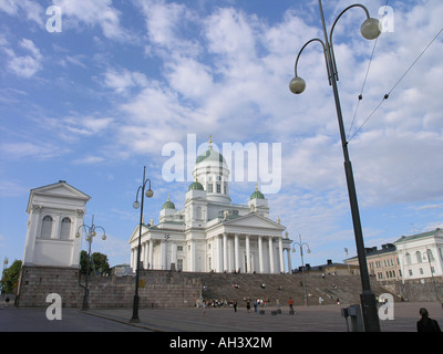 Tuomiokirkko lutheran kathedral and Senate square centre of Helsinki Finland - Stock Photo