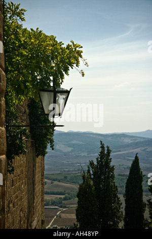 View over Val d'Orcia from Pienza, Tuscany, Italy - Stock Photo