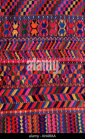 Detail of brocaded trousers as worn in Santa Catarina Palopo on Lake Atitlan Woven on a hipstrap loom by Maya women - Stock Photo