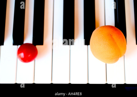 Piano keyboard close up with apricot and tomato complicity - Stock Photo