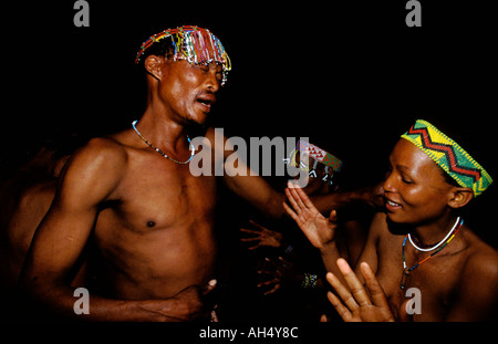 San Bushman Dancing Kalahari Desert Namibia - Stock Photo