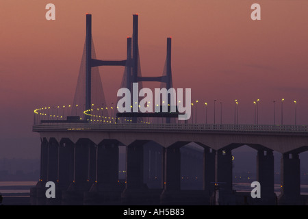 New Severn Bridge at sunset Avon England - Stock Photo