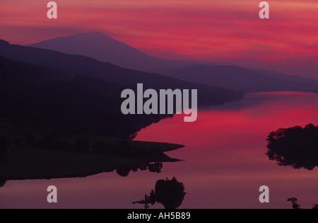 Queen s view Loch Tummel after sundown Perthshire Scotland - Stock Photo