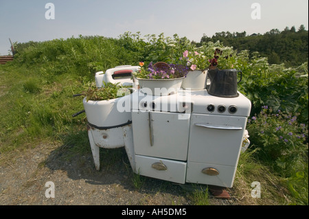 Flower pots on an old stove Ninilchik near Homer Alaska USA - Stock Photo