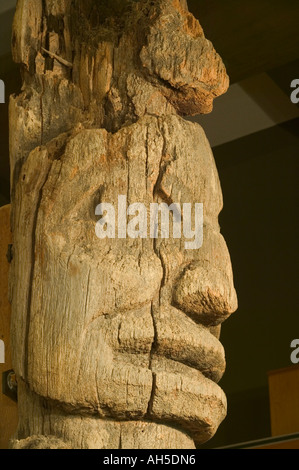 The remains of an old totem pole at the Totem Heritage Center Ketchikan Alaska USA - Stock Photo