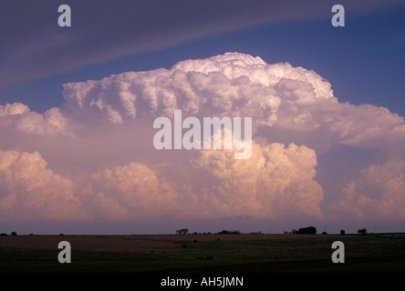 Explosive storm cloud development, appears like an atomic explosion in North Kansas, USA - Stock Photo