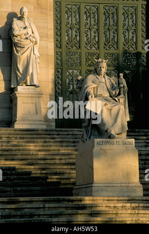 Statues National Library Madrid Spain Europe - Stock Photo
