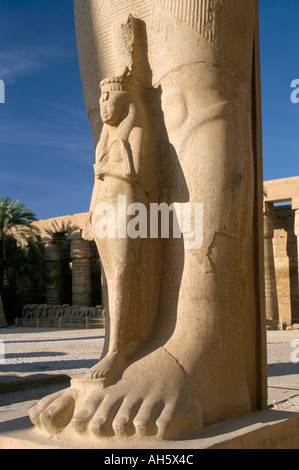 Statue of wife at the feet of Ramses II Ramses the Great Temple of Karnak UNESCO World Heritage Site Luxor Egypt - Stock Photo