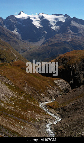 View from the Col de L'Iseran, The Vanoise, Alps , France - Stock Photo