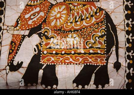 Batik Wall Hanging Elephant Gift Fibre Arts Wall Decor