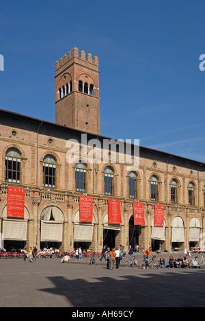 Piazza Maggiore towards Palazzo Re Enzo, Bologna, Italy - Stock Photo