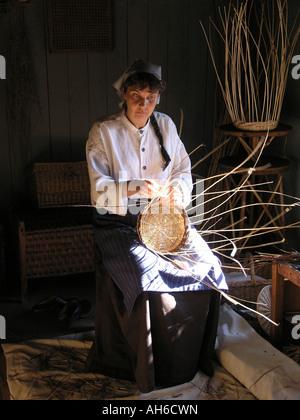 basket maker in open air museum Luostarinmäki Turku Finland - Stock Photo