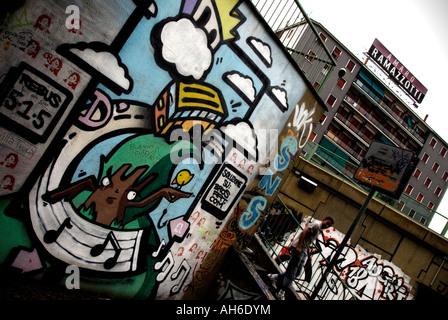 Italy, Milano. 2007. Famagosta quarter. Street art - Stock Photo