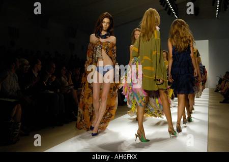 Models walk the runway at the Tuleh Spring 2008 fashion show during New York Fashion Week - Stock Photo