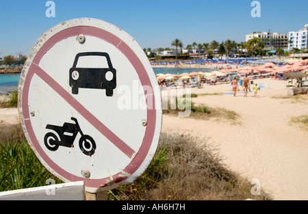No motor vehicles sign on Sandy Bay Beach near Ayia Napa on the Mediterranean island of Cyprus EU - Stock Photo