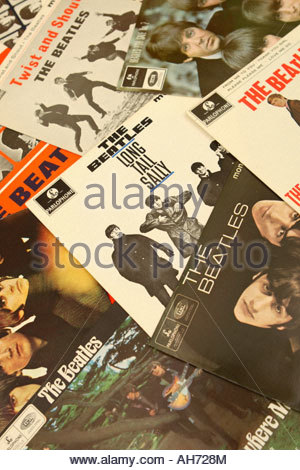 The Beatles pop group record collection sleeve covers - Stock Photo