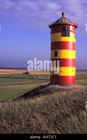 Lighthouse at Pilsum, East Friesland Frisia, Germany, Europe - Stock Photo