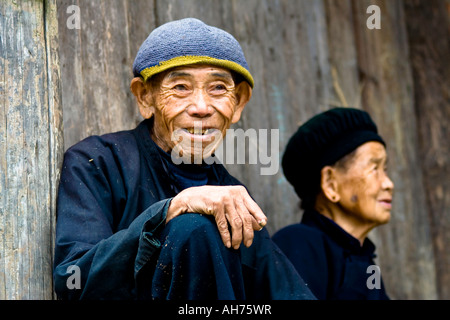 Dong Elderly Ethnic Minority Couple in Traditional Clothing Zhaoxing China - Stock Photo