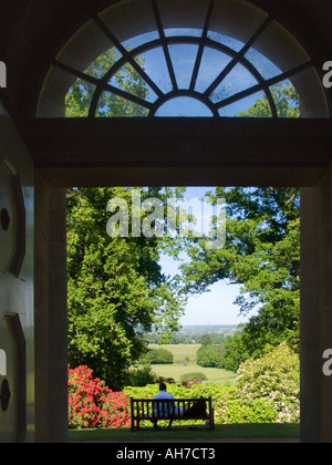 View from Mausoleum at Bowood Rhododendron walks - Stock Photo