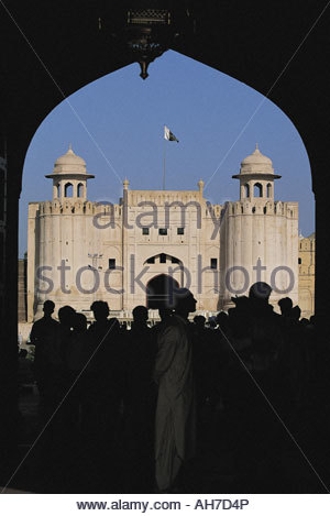 Pakistan, Punjab, Lahore, fort, arch and Alamgiri Gate - Stock Photo
