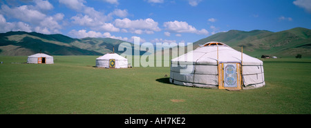 Yurts ghers in Orkhon valley Ovorkhangai province Mongolia Central Asia Asia - Stock Photo