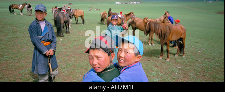 Naadam horse race Ovorkhangai province Mongolia Central Asia Asia - Stock Photo