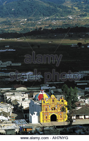 Guatemala, San Andrés Xecul, aerial view of the church - Stock Photo