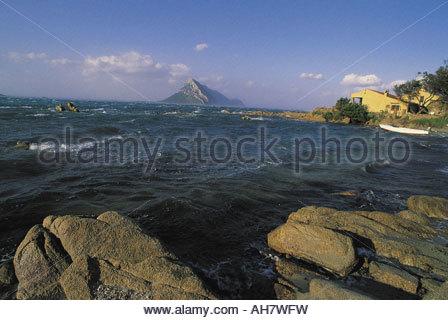 Italy, Sardinia, province of Olbia-Tempio, Gulf of Olbia, Tavolara Island - Stock Photo