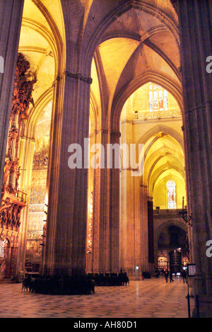 Interior architecture of Cathedral of Seville in Spain - Stock Photo