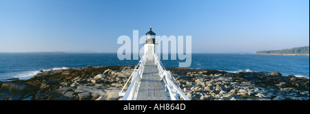 Marshall Point Lighthouse from 1832 Penobscot Bay Port Clyde Maine - Stock Photo