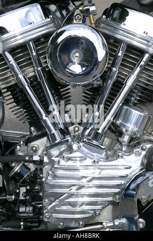 Chrome engine on a custom motorcycle close up - Stock Photo