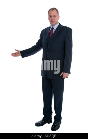 Businessman with his arm out in a welcoming gesture - Stock Photo
