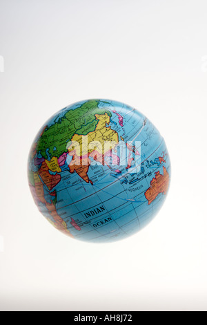 AAD71456 Round globe of world showing Asia Indian Ocean India - Stock Photo