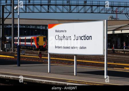 Clapham Junction railway station sign, London, England, UK - Stock Photo