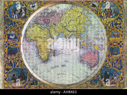 Old world map showing Asia Africa Australia Indian Ocean India - Stock Photo