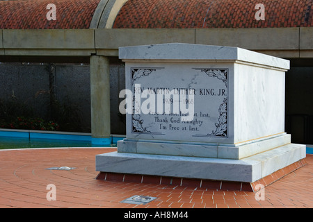 Civil Rights leader Dr Martin Luther King Jr Tomb located at the Martin Luther King Historic Site in Atlanta Georgia - Stock Photo