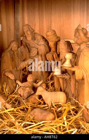 Carved Christmas Nativity scene. WesternSprings Illinois USA - Stock Photo