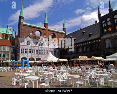 Luebeck Rathaus City Town Hall Marktplatz market square - Stock Photo