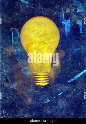 Illustration light bulb idea painting - Stock Photo