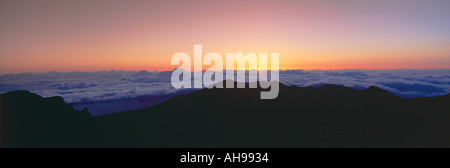 Sunrise over Haleakala volcano summit Maui Hawaii - Stock Photo