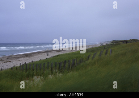Beach near Sandwich on a windswept and rainy August day - Stock Photo