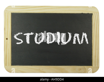 Chalk board with the label study Symbol for school learning and instruction - Stock Photo